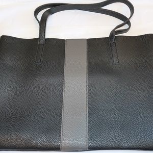 NEW Vince Camuto Black Leather Tote w/ Grey Stripe